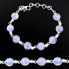 33.29cts natural rainbow moonstone 925 sterling silver tennis bracelet p92908