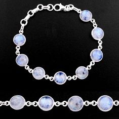 28.08cts natural rainbow moonstone 925 sterling silver tennis bracelet p92922
