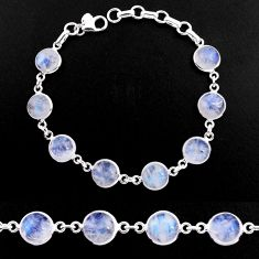 28.73cts natural rainbow moonstone 925 sterling silver tennis bracelet p92923