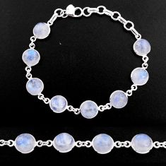 30.88cts natural rainbow moonstone 925 sterling silver tennis bracelet p92930