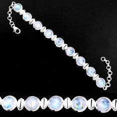 28.63cts natural rainbow moonstone 925 sterling silver tennis bracelet p92982
