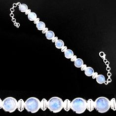 29.03cts natural rainbow moonstone 925 sterling silver tennis bracelet p92983