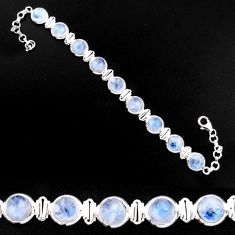 27.49cts natural rainbow moonstone 925 sterling silver tennis bracelet p92985