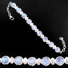27.89cts natural rainbow moonstone 925 sterling silver tennis bracelet p92989