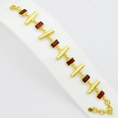 15.46cts natural red garnet 925 sterling silver 14k gold tennis bracelet p75076