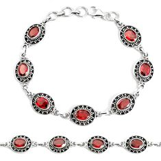 15.69cts natural red garnet 925 sterling silver tennis bracelet jewelry p34661