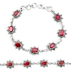 14.27cts natural red garnet 925 sterling silver tennis bracelet jewelry p34666