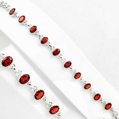 15.93cts natural red garnet 925 sterling silver tennis bracelet jewelry p89065