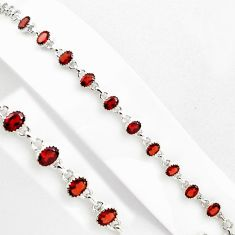 16.23cts natural red garnet 925 sterling silver tennis bracelet jewelry p89066