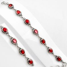 15.91cts natural red garnet 925 sterling silver tennis bracelet jewelry p89072