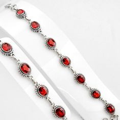 16.18cts natural red garnet 925 sterling silver tennis bracelet jewelry p89074
