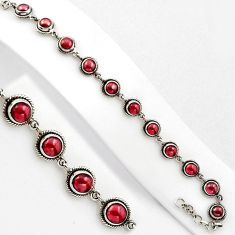 15.94cts natural red garnet 925 sterling silver tennis bracelet jewelry p89105
