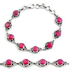 19.53cts natural red ruby 925 sterling silver tennis bracelet jewelry p68053