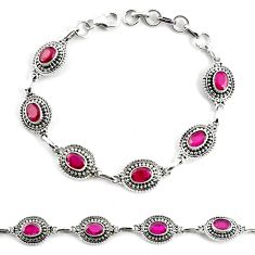 9.44cts natural red ruby 925 sterling silver tennis bracelet jewelry p68057