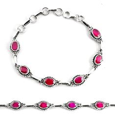 8.90cts natural red ruby 925 sterling silver tennis bracelet jewelry p68058
