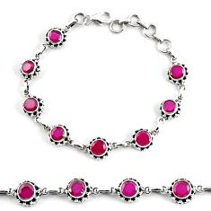 10.61cts natural red ruby 925 sterling silver tennis bracelet jewelry p68059