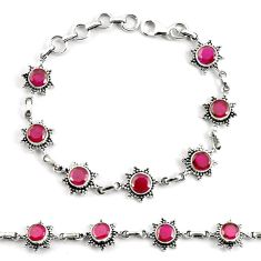 8.71cts natural red ruby 925 sterling silver tennis bracelet jewelry p68078