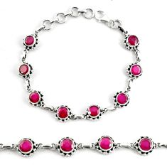 10.31cts natural red ruby 925 sterling silver tennis bracelet jewelry p68080