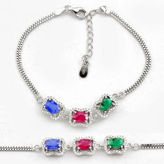 8.70cts natural red ruby emerald 925 sterling silver tennis bracelet c4647