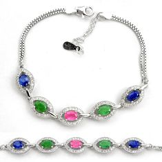 10.53cts natural red ruby emerald sapphire 925 sterling silver bracelet c4466