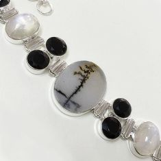 54.90cts NATURAL SCENIC RUSSIAN DENDRITIC AGATE 925 SILVER BRACELET F36416