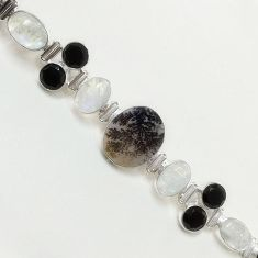 59.90cts NATURAL SCENIC RUSSIAN DENDRITIC AGATE 925 SILVER BRACELET F36418