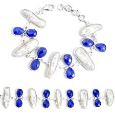 48.33cts natural white biwa pearl lapis lazuli 925 silver tennis bracelet p34637