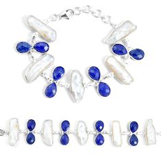 49.53cts natural white biwa pearl lapis lazuli 925 silver tennis bracelet p34638
