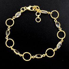 9.42cts natural white herkimer diamond 925 silver 14k gold bracelet p88536