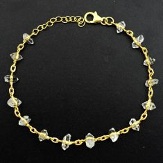 14.08cts natural white herkimer diamond 925 silver gold tennis bracelet p68574