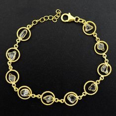 11.23cts natural white herkimer diamond 925 silver gold tennis bracelet p68586