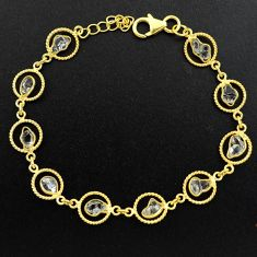 10.78cts natural white herkimer diamond 925 silver gold tennis bracelet p68587