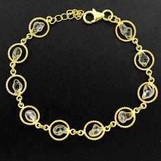 10.78cts natural white herkimer diamond 925 silver gold tennis bracelet p68587