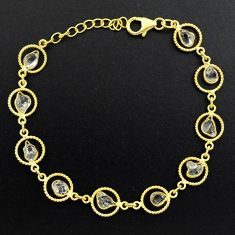 11.21cts natural white herkimer diamond 925 silver gold tennis bracelet p68593