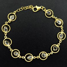 10.78cts natural white herkimer diamond 925 silver gold tennis bracelet p68595