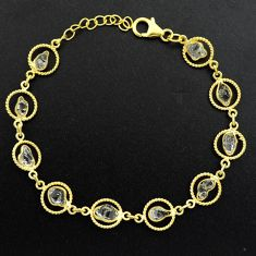 11.23cts natural white herkimer diamond 925 silver gold tennis bracelet p68597