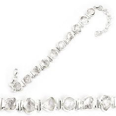 33.21cts natural white herkimer diamond 925 silver tennis bracelet p69013