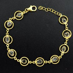 10.29cts natural white herkimer diamond silver 14k gold tennis bracelet p68600