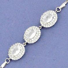 NATURAL WHITE OPALITE TOPAZ 925 STERLING SILVER LINK BRACELET JEWELRY H30926