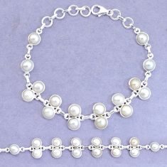 25.05cts natural white pearl 925 sterling silver tennis bracelet jewelry p34660