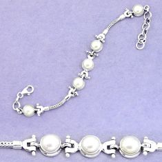 14.37cts natural white pearl 925 sterling silver tennis bracelet jewelry p54806