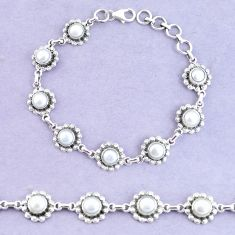 11.11cts natural white pearl 925 sterling silver tennis bracelet jewelry p65141