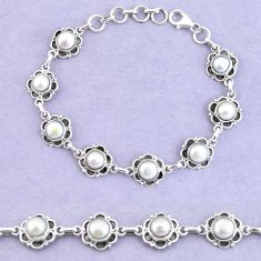 20.21cts natural white pearl 925 sterling silver tennis bracelet jewelry p65147