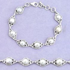 19.95cts natural white pearl 925 sterling silver tennis bracelet jewelry p65153