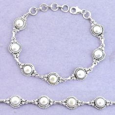 10.82cts natural white pearl 925 sterling silver tennis bracelet jewelry p65156