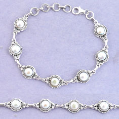 16.84cts natural white pearl 925 sterling silver tennis bracelet jewelry p65157