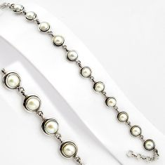 16.42cts natural white pearl 925 sterling silver tennis bracelet jewelry p89121