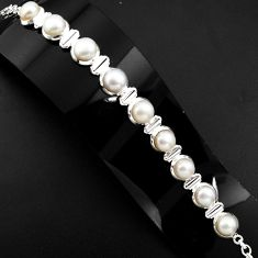 29.34cts natural white pearl 925 sterling silver tennis bracelet jewelry p89641