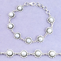 11.22cts natural white pearl 925 sterling silver tennis bracelet p65142