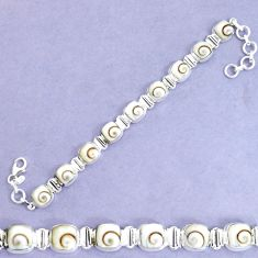28.21cts natural white shiva eye 925 sterling silver tennis bracelet p34627
